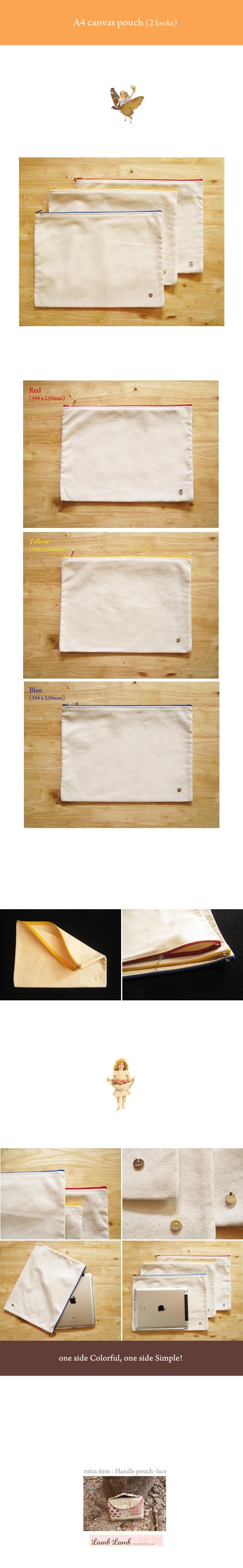 A4 canvas pouch (2 looks) - 램램, 15,000원, 트래블팩단품, 멀티파우치
